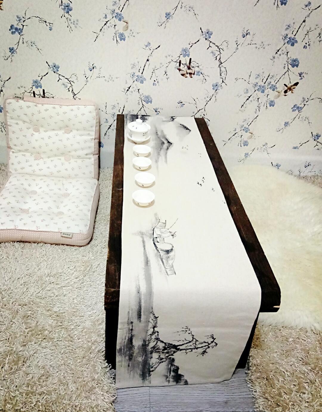 棉麻茶席(30*150),手绘国画山水,接受预订。