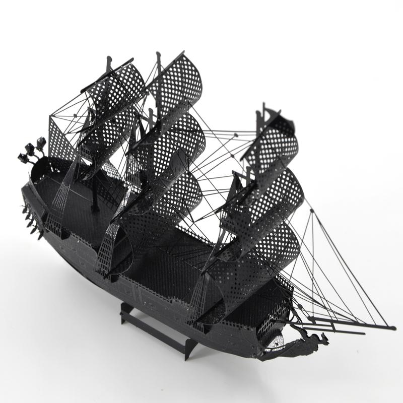 拼酷 3D创意立体金属手工免胶拼装模型 彩色黑珍珠海盗船